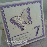 Birthday Card, 7 years, Bestest Birthday, Personalized, Handmade