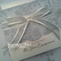 Engagement Card, Personalized, Handmade