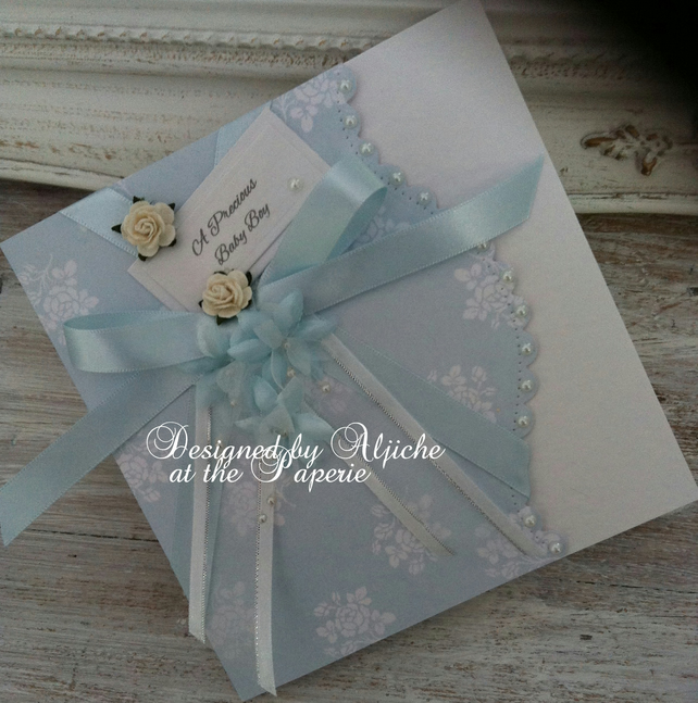 New Baby Boy Card, Grandson,  Personalized, Christening, Naming Day