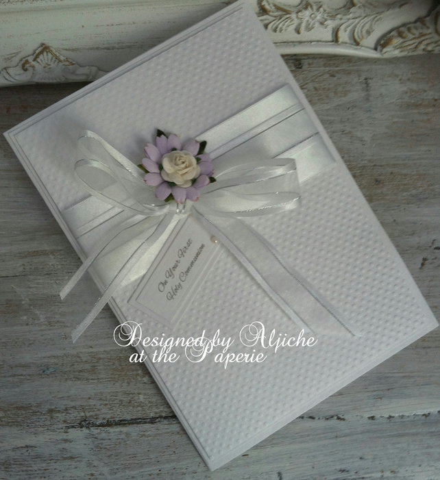 First Holy Communion Card, Baptism, Christening,  Personalized, Handmade,