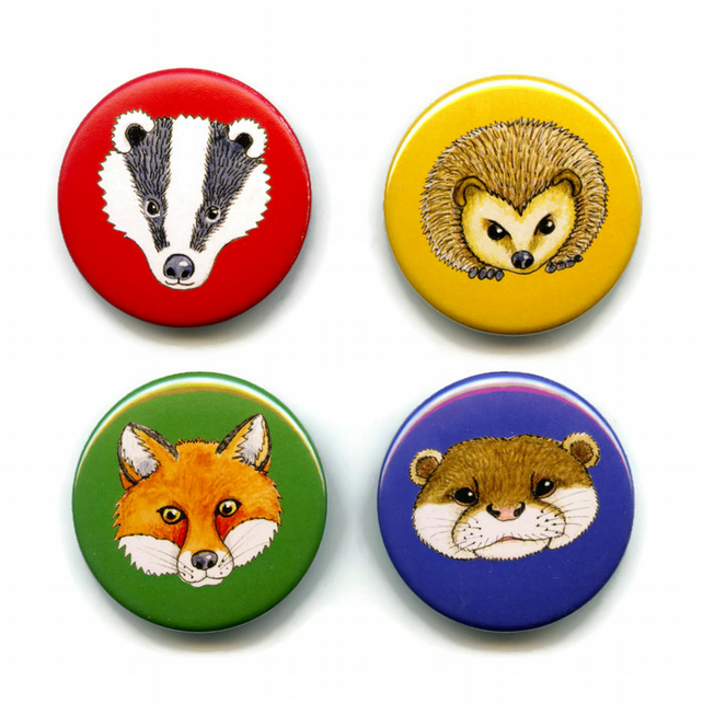 Animal Button Badges 38mm Pack of 4 British Wild Woodland Badger, Fox, Hedgehog