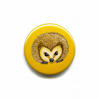 Hedgehog Face Button Badge 38mm British Wild Woodland Animal