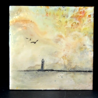 Lighthouse Painting - Miniature Encaustic Painting - Nautical - Scotland