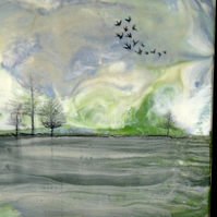 Abstract Landscape Painting - Lakeside View - Scotland