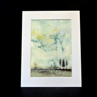 Mounted Original Encaustic Painting - Abstract Landscape - Trees - Scotland