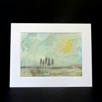Original Encaustic Abstract Landscape Painting - Mounted - Scotland