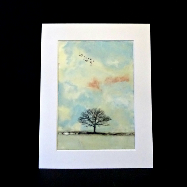 Original Mounted Encaustic Landscape Painting - Trees - Birds - Scotland