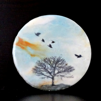 Circular Abstract Landscape Painting - Original Encaustic - Beeswax - Scotland
