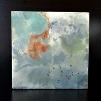 Original Encaustic Abstract Skyscape Painting - Birds - Scotland