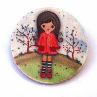 Girl with Red Coat Brooch