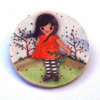 Girl with Orange dress wood and fabric Brooch