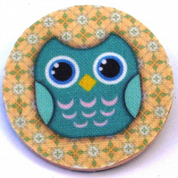 Turquoise Owl wood and fabric Brooch