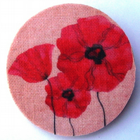 Poppies wood and fabric Brooch