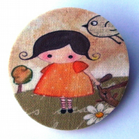 Girl with Bunny and Bird Brooch