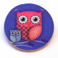 Owl and baby wood and fabric Brooch