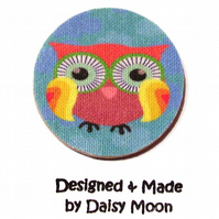 Eco Friendly Owl wood and fabric Brooch