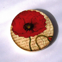 Vintage Style Poppy Decoupaged Wooden Brooch