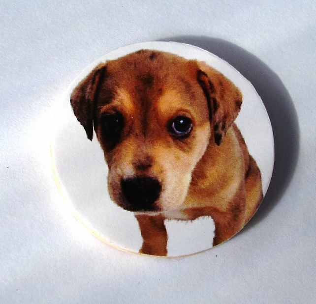 Cute Puppy Dog Decoupaged Wooden Brooch