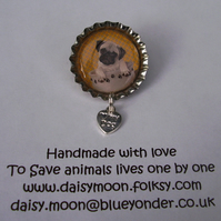Pug Rescue Dog Brooch