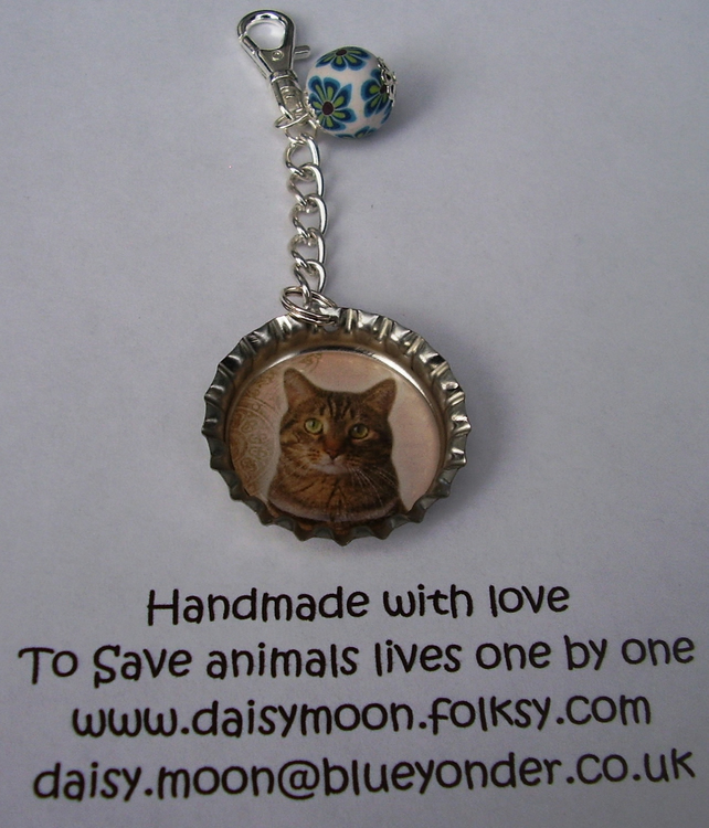 Tabby Cat Mobile phone or Handbag Charm