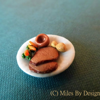 Roast Beef Dinner Plate for Dolls house - Food - Polymer Clay - Accessories