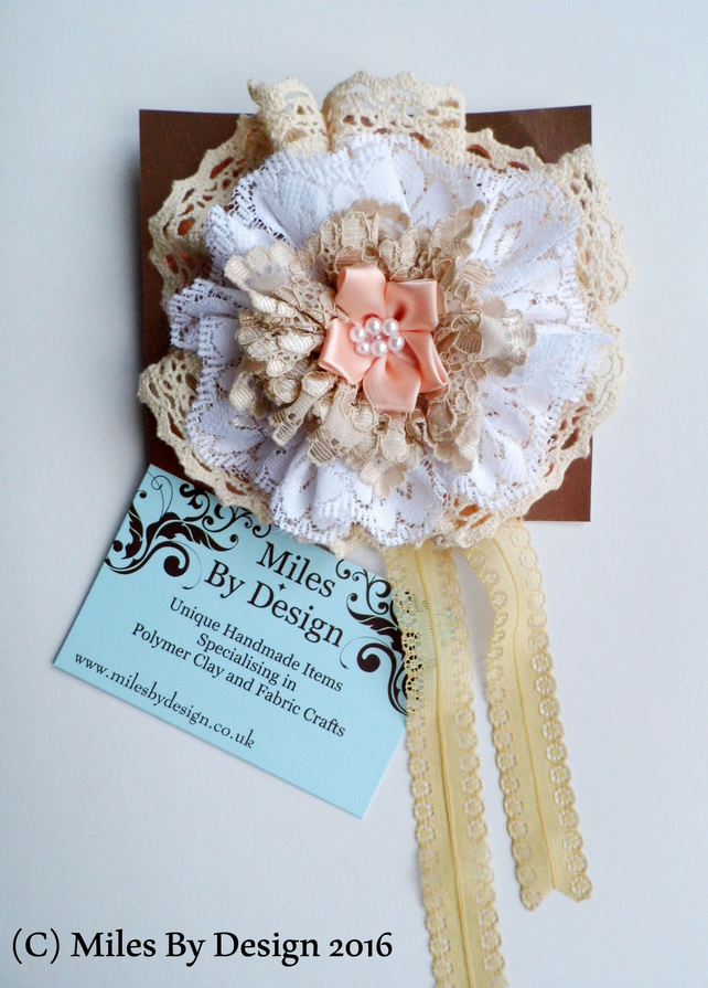 Lace and Pearl Ribbon Brooch