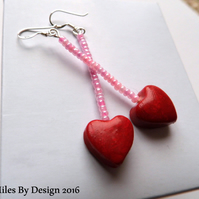Sterling Silver Heart Drop Earrings - Valentines