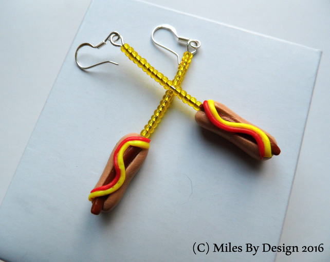 Sterling Silver Hot Dog Drop Earrings - Gifts - Polymer Clay