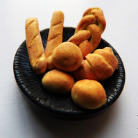 Miniature Bread Basket - Polymer Clay - Food