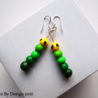 Sterling Silver Caterpillar Drop Earrings - Polymer Clay - Jewellery