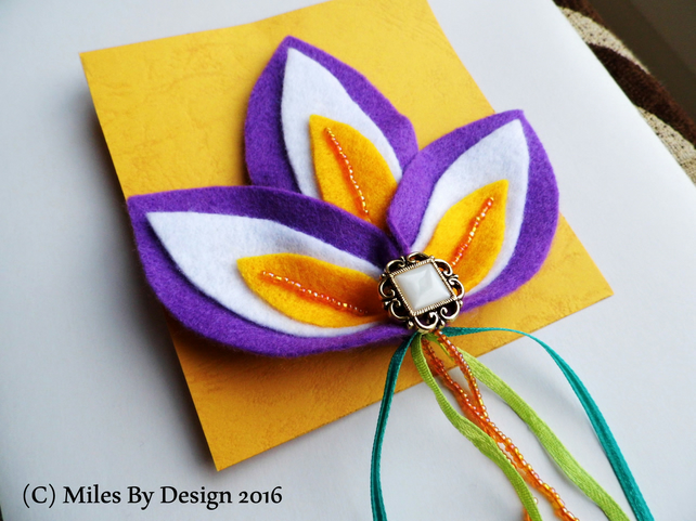 Large Iris Felt Brooch