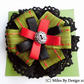 Green Ribbon & Black Lace Rosette Brooch