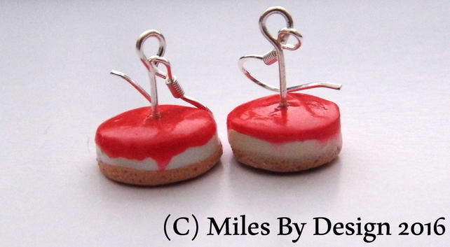 Sterling Silver Strawberry Cheesecake Drop Earrings