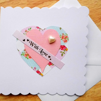 Pearl & Floral Heart Valentines Card