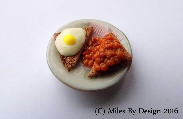 Fried Egg and Beans on Toast Breakfast Plate for Dolls House - Food - Polymer