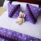 1:12 Scale White & Lilac Polka Dot Dolls House Bedding Set with Teddy Bear