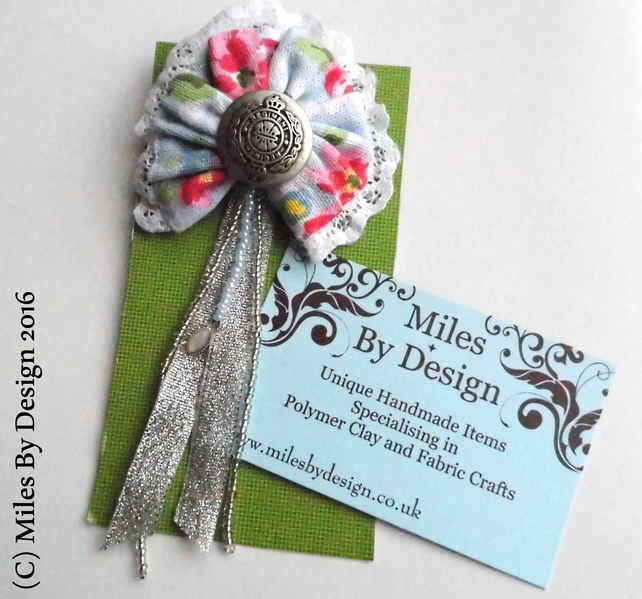 Floral Brooch with Army Style Button