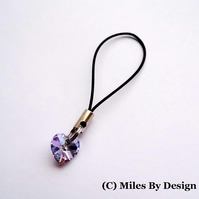 Mirrored Glass Crystal Heart Phone Charm