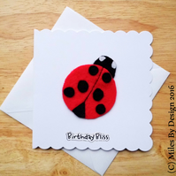 Red Felt Ladybird Birthday Card