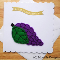 Purple Felt Grapes Birthday Card