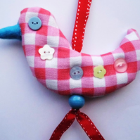 Country Gingham Hanging Bird