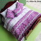 1:12 Scale Dusk Pink & White Flower Pattern Bedding Set