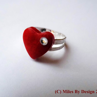 Faux Diamanté  Heart Ring Adjustable Band