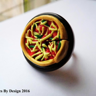 Pizza Plate Adjustable Ring - Polymer Clay - Jewellery - Gifts - Novelty