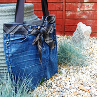 Large Denim Shopper Bag