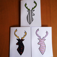 Trio Of Funky Stag Cards