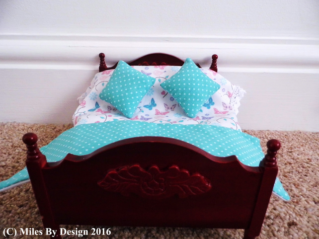 1:12 Scale Aqua & Butterfly & Birds Dolls House Bedding Set