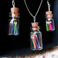 Pencil Jar Necklace & Earring Set