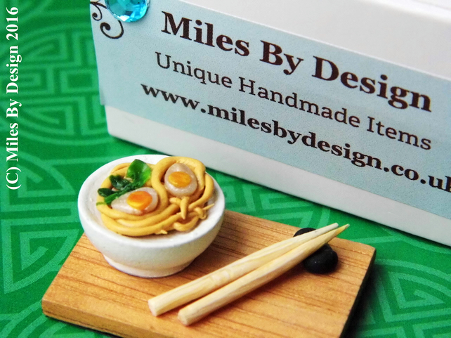 Miniature Chicken Noodle Soup Bowl and Chopsticks for Dolls House - Food