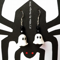 Sterling Silver Spooky Ghost Drop Earrings